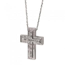 Damiani - Belle Epoque - white gold cross pendant with diamonds 20055758LOW