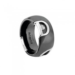 Damiani - D.Icon - black ceramic ring with D logo in white gold  and a diamond 20045781_HR