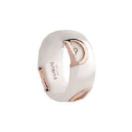 Damiani - D.Icon - white ceramic ring with D logo in pink gold  and a diamond 20045775 _HR